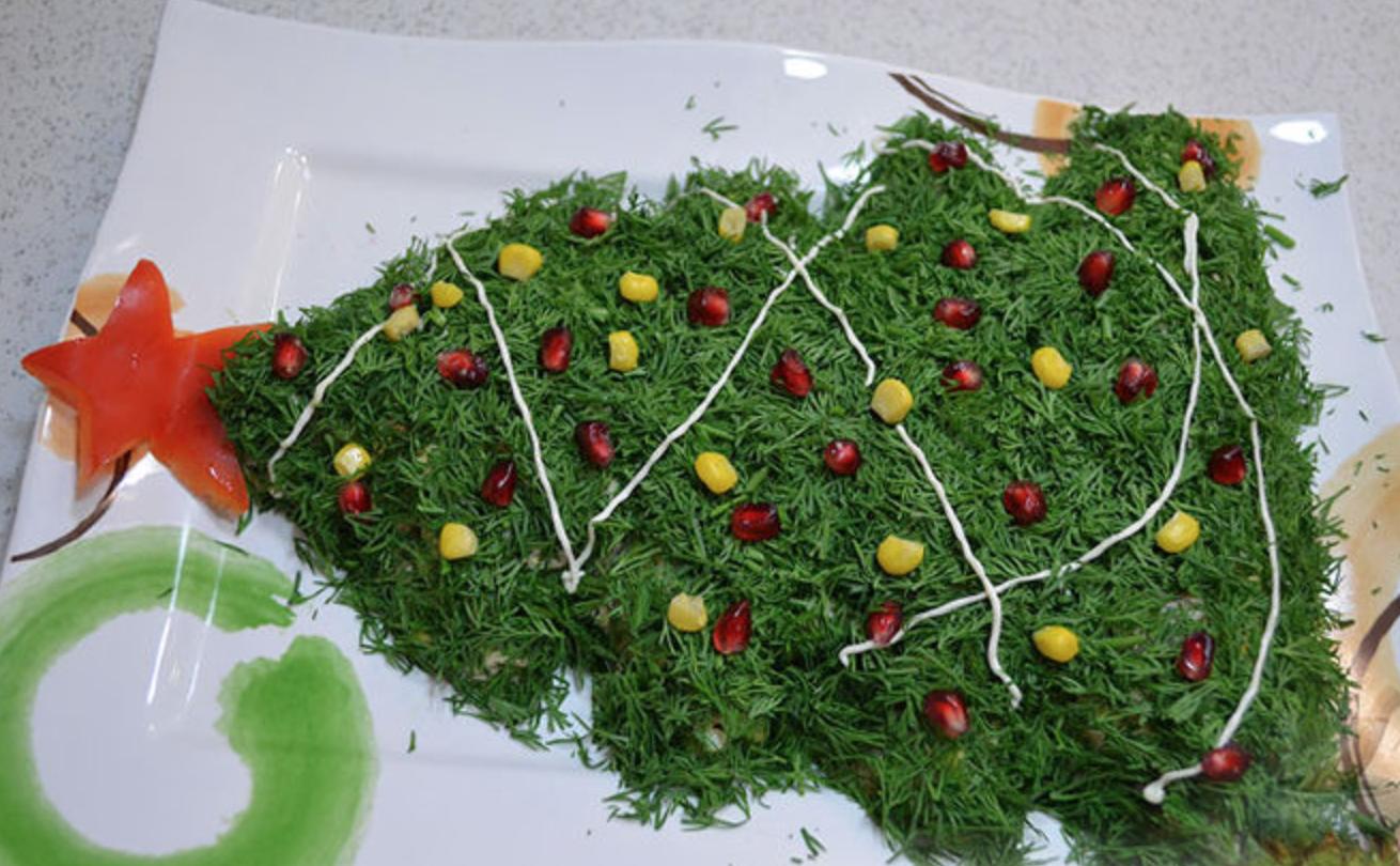 Как на новый год украсить салат