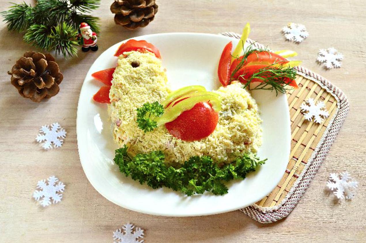 Салат петушок на новый 2017 год рецепты с